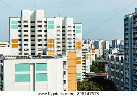 Singapore-18 Oct 2017: Singapore Hdb Residential Building Area Aerial View