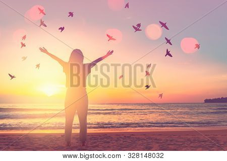 Copy Space Of Woman Raise Hand Up On Sunset Sky At Beach And Island Double Exposure Birds Fly Colorf
