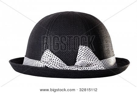 Black hat with white ribbon bow tie