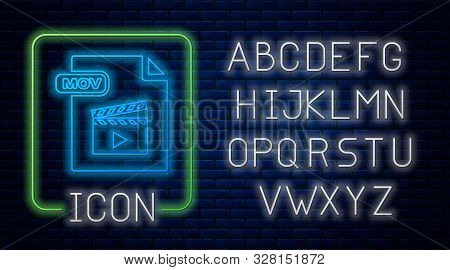 Glowing Neon Mov File Document. Download Mov Button Icon Isolated On Brick Wall Background. Mov File