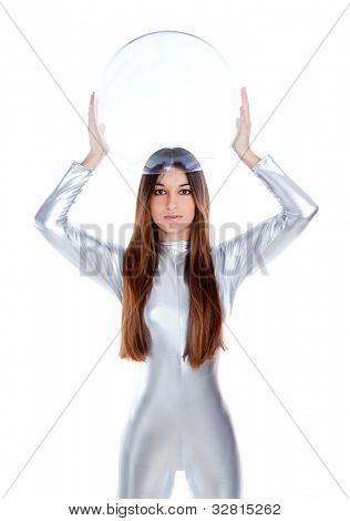 brunette futuristic silver woman holding sphere glass helmet