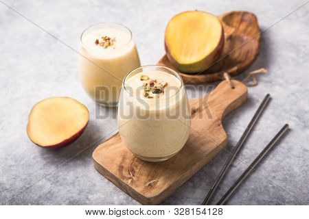 Mango Lassi, Yogurt Or Smoothie. Healthy Probiotic  Cold Summer Drink,mango Lassi Or Lassie , Yogurt
