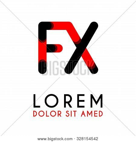 Initial Letter Fx With Red Black And Has Rounded Corners