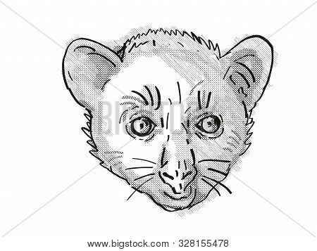 Retro cartoon style drawing of head of an Aye-Aye or Daubentonia madagascariensis , an endangered wildlife species on isolated white background done in black and white. poster