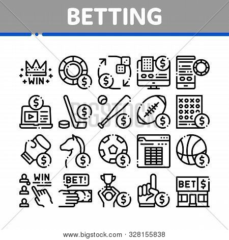 Betting And Gambling Collection Icons Set Vector Thin Line. Basketball And Baseball, Hockey And Boxi