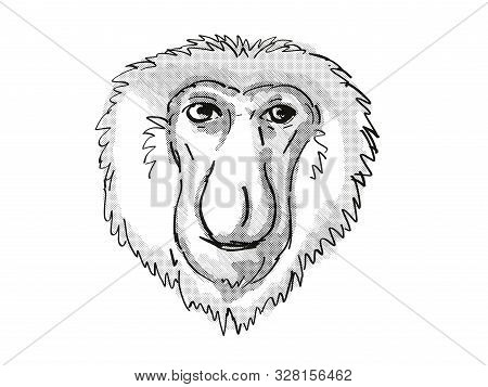 Retro Cartoon Style Drawing Of Head Of A Proboscis Monkey, A Medium-sized Arboreal Primate In Borneo
