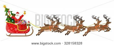 Santa Claus On Sleigh Full Of Gifts, Christmas Tree And His Reindeers. Happy New Year Decoration. Me