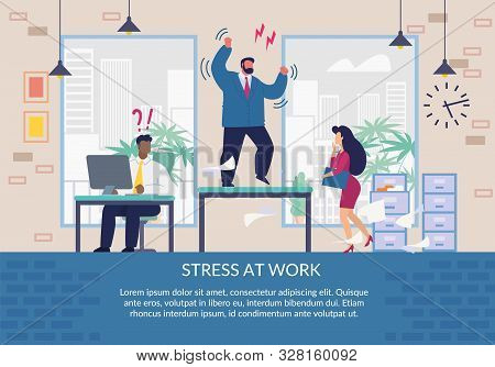 Stress At Work Poster Flat Design. Cartoon Puzzled Worker, Stressed Secretary And Angry Exasperated