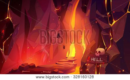 Road To Hell, Infernal Hot Cave With Lava And Burning Fire, Path Paved With Rocks And Randomly Lying