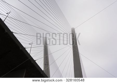 Modern Cable-stayed Bridge With Large Steel Cables Close-up.
