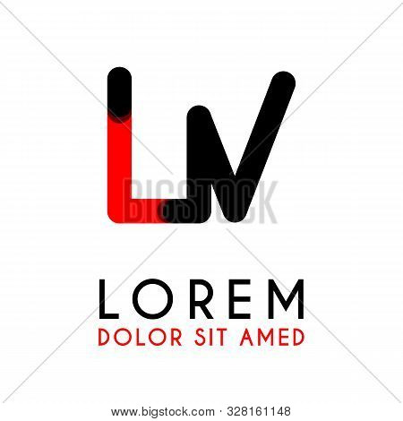Initial Letter Lv With Red Black And Has Rounded Corners