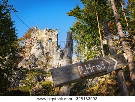 Ruins Of Medieval Castle Hricov In Sulov Mountains Range Near Zilina, Slovakia