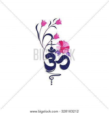 Vector Flat Background. Buddhist Symbol Ohm On White Background