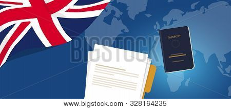 Visa Application Document Or Work Student Permit For Uk United Kingdom England. Passport And Paper S