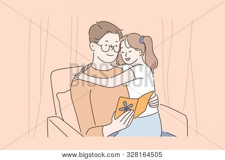 Happy fatherhood, strong father and daughter relationships, family love and tenderness concept. Little girl hugging daddy and greeting with fathers day, dad and kid together. Simple flat vector poster