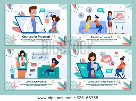 Informative Flat Banner Set Advertising Courses For Pregnant. Maternity Classes Promotion. Parenting