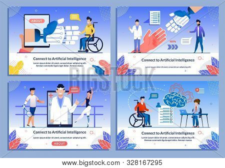 Ai Support For Disabled Patient Medical Banner Set. Cartoon People Characters In Wheelchair Received
