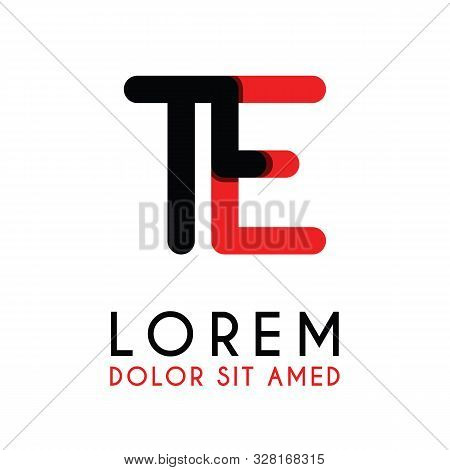 Initial Letter Te With Red Black And Has Rounded Corners