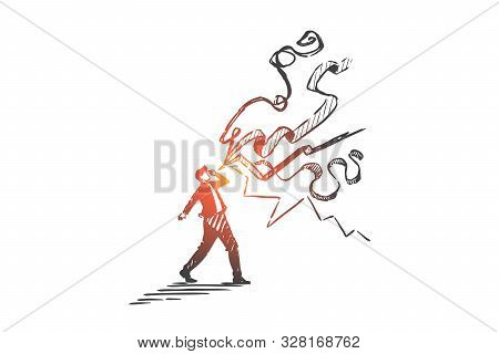 poster of Promotion and advertisement concept sketch. Businessman shouting, marketing strategy, social media coverage metaphor, informing general public, company presentation. Hand drawn isolated vector