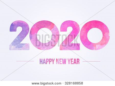 Happy New Year 2020. Year 2019 Vector Design Element. Watercolor Illustration. Merry Chrstmas Backgr