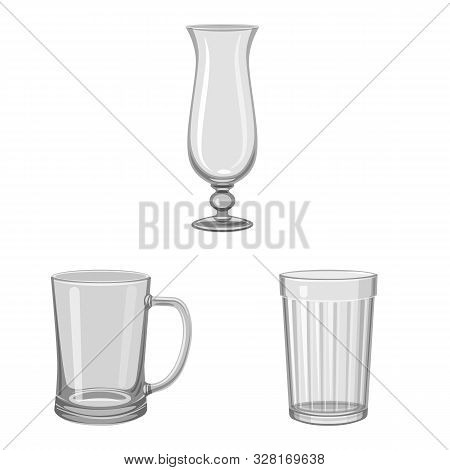 Isolated Object Of Capacity And Glassware Logo. Collection Of Capacity And Restaurant Stock Vector I