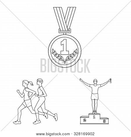 Isolated Object Of Exercise And Sprinter Logo. Set Of Exercise And Marathon Stock Vector Illustratio