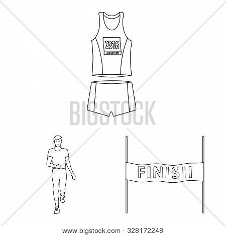 Vector Design Of Exercise And Sprinter Symbol. Collection Of Exercise And Marathon Stock Vector Illu