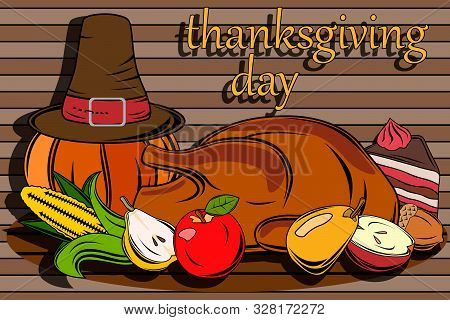Wallpaper For Thanksgiving. Large Set. Poster And Postcard For Thanksgiving. Cake, Turkey, Different