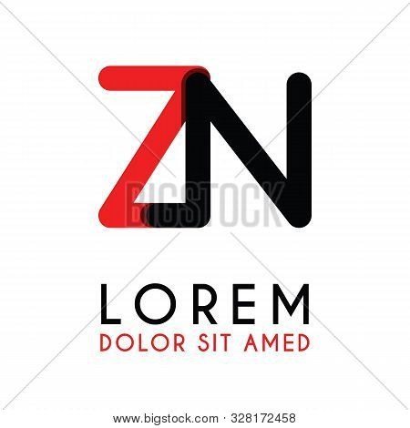 Initial Letter Zn With Red Black And Has Rounded Corners