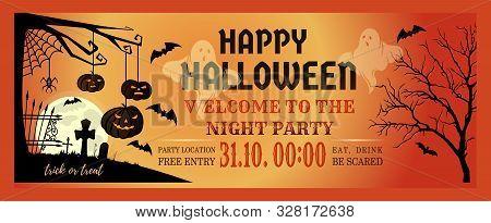 Halloween Night Party Invitation Flyer. Halloween Banner Design With Halloween Pumpkins And Cemetery