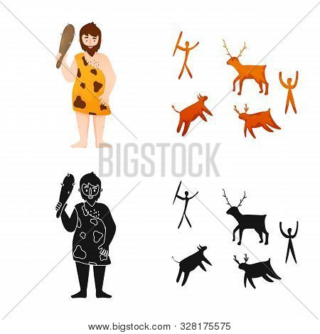Vector Illustration Of Evolution And Neolithic Sign. Collection Of Evolution And Primeval Vector Ico
