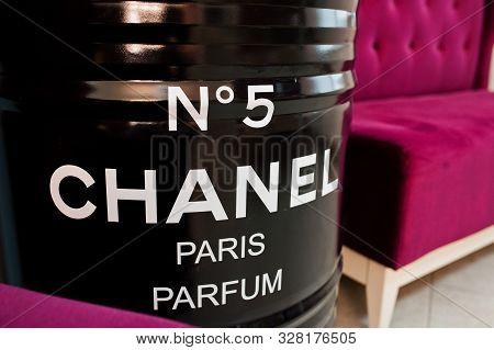 Kyiv, Ukraine - September 1, 2019: Black Chanel 5 Barrel Paris Parfum.
