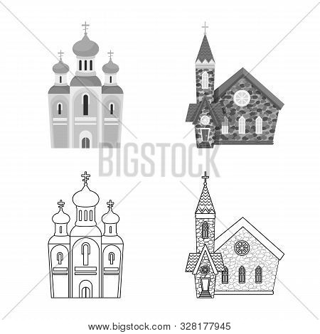 Isolated Object Of Cult And Temple Symbol. Set Of Cult And Parish Stock Vector Illustration.