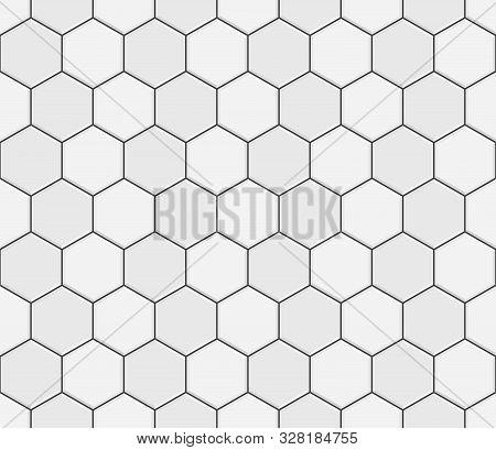 Abstract Seamless Pattern, White Gray Ceramic Tiles Floor. Concrete Hexagonal Paver Blocks. Design G
