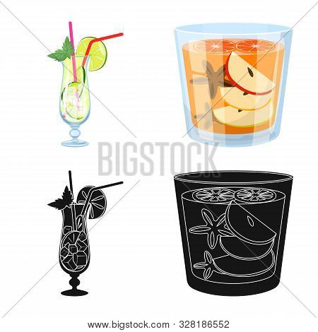 Vector Illustration Of Liquor And Restaurant Icon. Collection Of Liquor And Ingredient Stock Symbol
