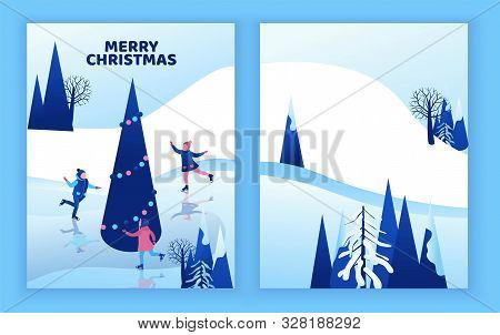 Ice Skating Greeting Card, Isometric Kids, 3d Vector Winter People, Sport Family, Christmas Tree Dec
