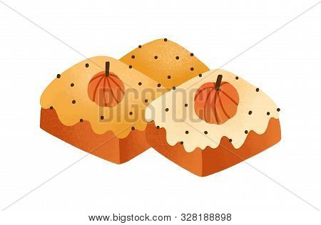Sweet Pumpkin Cakes, Pies Flat Vector Illustration. Delicious Pastry, Baking Isolated On White Backg
