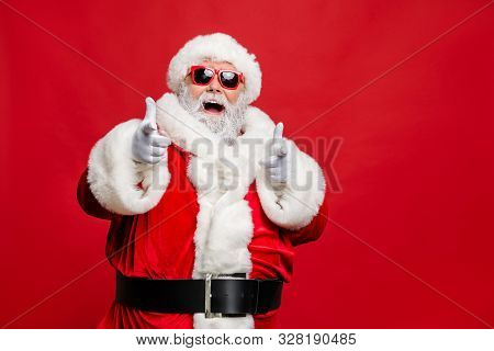 Choose Winter Season Sales. Close Up Photo Of Cool Stylish Trendy Santa Indicate Discount Shopping B