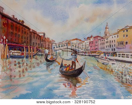 Travel Venice Canal With Tourist On Gondola. Painting Landmark Italy With Historic View Italy. Water