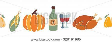 Thanksgiving Dinner Food Seamless Vector Border. Autumn Roast Turkey Corn Wine Pumpkin Family Dinner