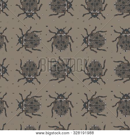 Classic colors vector seamless pattern in Mondriaan (Mondrian) style beige beetles. Background for bedding, textile, card, wrapping, furnishings, upholstery, cover page, typographic print, banner. poster