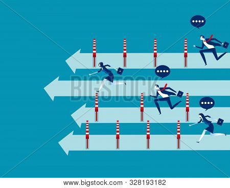 Business People And Winning The Race, Concept Business Vector Illustration, Flat Business Cartoon, U