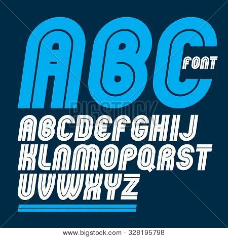 Set Of Vector Rounded Bold Capital Alphabet Letters Made With White Lines, Can Be Used In Poster Cre