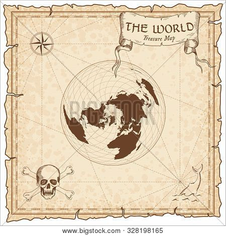 World Treasure Map. Pirate Navigation Atlas. Wiechel Projection. Old Map Vector.