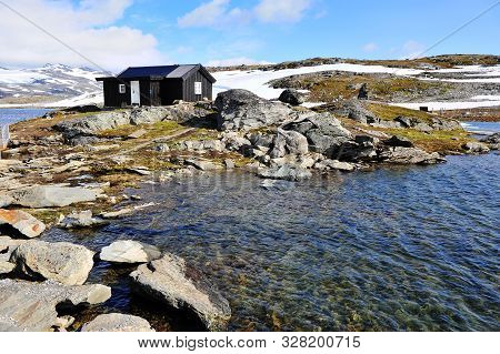 Wooden House At The Water, Snow Road