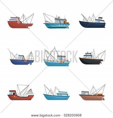 Vector Design Of Boat And Fishing Icon. Collection Of Boat And Vessel Vector Icon For Stock.