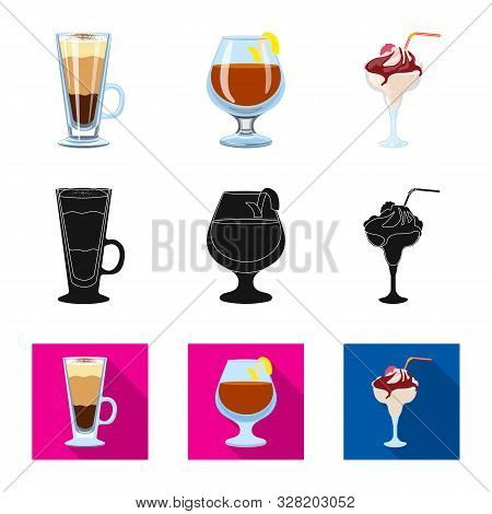 Isolated Object Of Liquor And Restaurant Sign. Set Of Liquor And Ingredient Stock Vector Illustratio