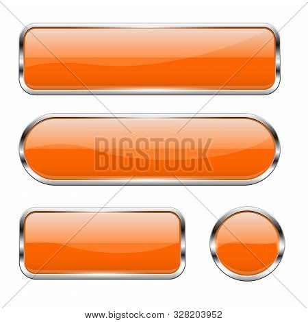Orange Glass Buttons. Set Of 3d Shiny Icons With Chrome Frame. Vector Illustration Isolated On White