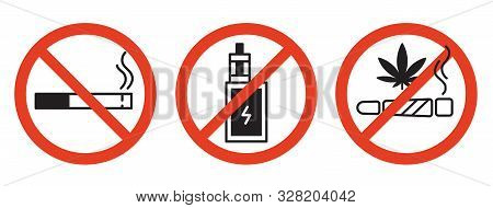 Forbidding Vector Signs. No Smoking, No Drugs, No Vaping. Isolated Illustration On White Background.