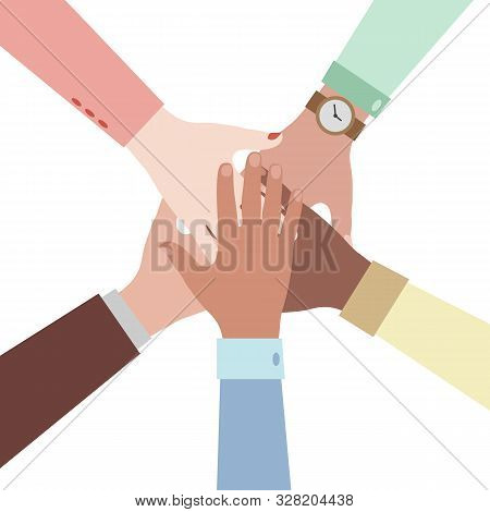 Hands Of Diverse Group Of People Putting Together. Concept Of Cooperation, Unity, Togetherness, Part